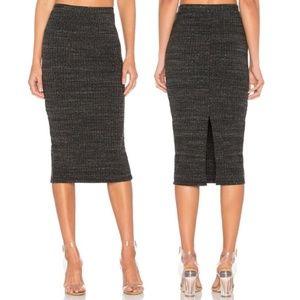 Monrow Grey Ribbed Pencil Skirt Size Large